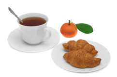 Cup of tea with croissant and tangerine. Isolated on white background Royalty Free Stock Photo