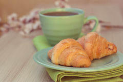 Cup of tea and croissants near blossoming branches Royalty Free Stock Photos