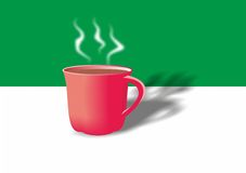 Cup of tea, cup of coffee, mug, hot drink, tableware, red stock photo