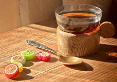Cup of tea, the Cup holder,candy,spoon. Royalty Free Stock Photography