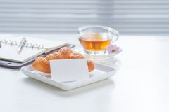 Cup of tea and dessert in the morning, relaxing time Royalty Free Stock Images
