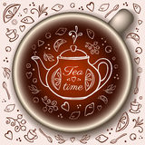 Cup of tea with doodle tea time elements. Royalty Free Stock Photography