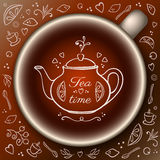 Cup of tea with doodle tea time elements. Royalty Free Stock Photos