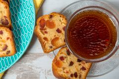 Cup of tea with dried fruit cake Stock Photos