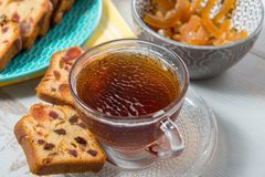 Cup of tea with dried fruit cake Stock Photo