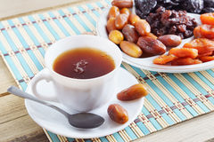 Cup Of Tea And Dried Fruits Stock Photo