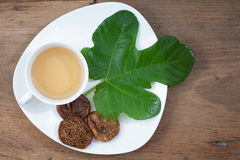 Cup Of Tea. Dried Fruits. Wooden Background. Royalty Free Stock Photo