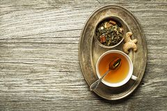 Cup of tea with dry tea Stock Photo