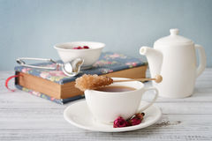 Cup of tea with dry rose buds Stock Photography