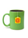 Cup of tea with e-mail symbol Stock Image