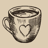 A cup of tea engraving. Ceramic ware with a heart. Vector illustration in sketch style. EPS 10 Royalty Free Stock Photography