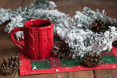 Cup of tea, fir cones, fir branches in the snow Royalty Free Stock Photo