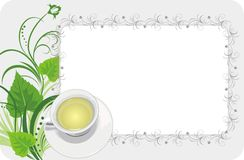 Cup with tea on the floral background. Card Royalty Free Stock Photography