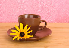 Cup of tea with flower Stock Photos