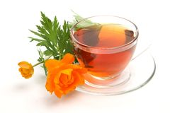 Cup with tea and a flower Royalty Free Stock Photo