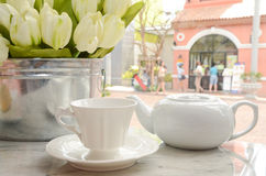 Cup of tea and flower Stock Photography
