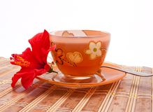 The cup of tea with a flower of hibiscus Royalty Free Stock Photography