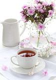 Cup of tea and flowers Royalty Free Stock Image