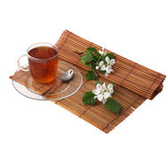 Cup of tea and flowers Royalty Free Stock Photo