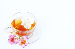 Cup of tea with  flowers Royalty Free Stock Images