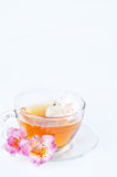 Cup of tea with  flowers Stock Photos
