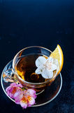 Cup of tea with  flowers Stock Image