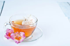 Cup of tea with  flowers Royalty Free Stock Image