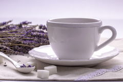 A Cup of tea and flowers of the lavender on textile. Herbal Tea with Lavender. Lavender tea. A Cup of tea and flowers of the lavender on textile. Sugar. Spoon Stock Images