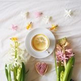 Cup of tea with flowers Royalty Free Stock Photography
