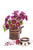 Cup of tea and flowers in a teapot Stock Photo