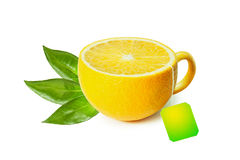 Cup of tea in the form of lemon  on white Royalty Free Stock Photography