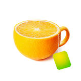 Cup of tea in the form of orange  on white Stock Image