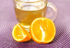 Cup tea with fresh fruit Stock Images