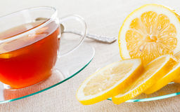 Cup of tea and fresh lemon Royalty Free Stock Photography
