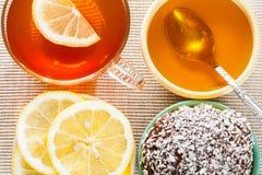 Cup of tea, fresh lemon and honey Royalty Free Stock Photos