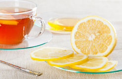 Cup of tea, fresh lemon and honey Royalty Free Stock Photography