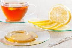 Cup of tea, fresh lemon and honey Stock Image