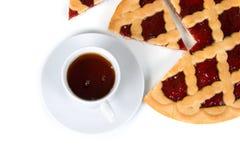 Cup of tea and fruit cake Stock Photos