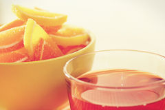 Cup of tea and fruit jelly Royalty Free Stock Images