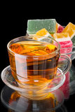 Cup of tea with fruit jelly Royalty Free Stock Photo