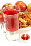 Cup of tea and fruits with candle Royalty Free Stock Photos