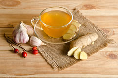 Cup of tea, ginger, garlic Royalty Free Stock Photography