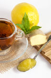 Cup of tea with ginger, honey Stock Photos