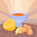 A cup of tea with ginger and lemon. Decorative drawing with patterns Royalty Free Stock Photography