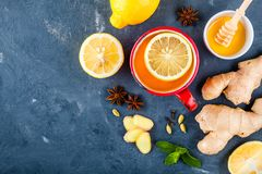 Cup of tea with ginger, lemon, honey, anise, cloves and cardamom Royalty Free Stock Image