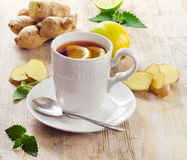 Cup of tea  and ginger Stock Photo