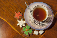 Cup Of Tea. And Gingerbread Cookies with sugar and Spruce tree branch Royalty Free Stock Images
