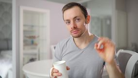 This cup of tea is good. Funny man gesture thumbs up and ok drinking fresh water. This cup of tea is good. Funny man gesture thumbs up and okay drinking fresh stock video