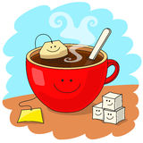 Cup of tea and good mood. Red cup of tea with tea bag inside. Funny smiling faces. Tasty tea drinking and good mood concept Royalty Free Stock Photography