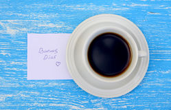 Cup of tea with good morning note Stock Images